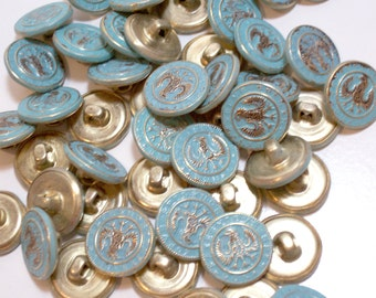 Green Buttons, Verdigris Goldtone Metal Buttons x 25 pieces 5/8 inch diameter, Three Legged Eagle Design