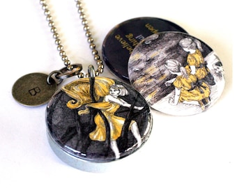 Magical Fairy Locket - Stamped Initial Metal Magnetic Necklace Yellow and Black Always Believe Pen and Ink Locket by StudioMME and Polarity