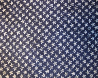Star Fabric | Calico Fabric Navy With Stars |  1 Yard