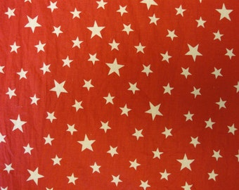 Red Calico Fabric With Stars 128 x 27