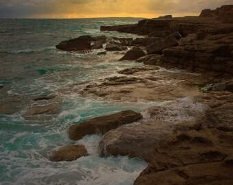 Ireland photograph, sunset, 8x12, atlantic ocean, doolin, butterscotch, Galway, caramel, harvest gold, opal, seashore, dusk, waves, seafoam