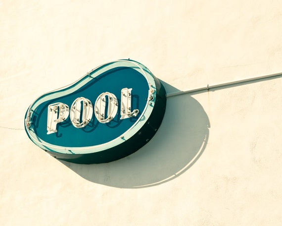 Sign photography, swimming pool, mad men, vintage neon sign, kitsch, retro decor, mid century modern, retro modern, new jersey