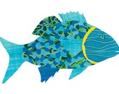 Collage Art Print: Fanciful Fish Series #5 - 8 x10 or 10x13 - Colourful Fish Design with Aqua, Green and Blue