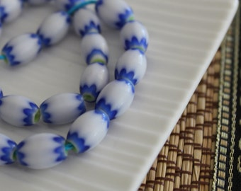Blue White Glass Beads - Tribal Blue Beads,  Beads, Oval Beads, 10mmx 6mm (10)