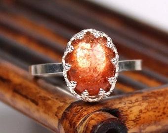 Sunstone Ring - Handmade Gemstone Sterling Silver Ring