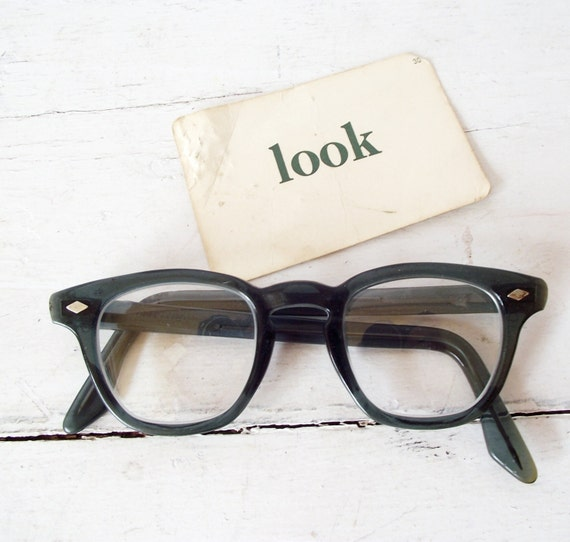 Vintage Nerd EyeGlasses Blue Green 1950s Safety - No Prescription - Glass Lenses - Cosmetic Wear