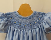 Smocked Blue Gingham Bishop  Dress 9  to 12 month Ready to Ship