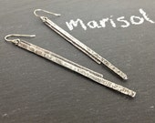 Long Slender Sterling Silver Metalwork Bar Earrings - Marisol Earrings