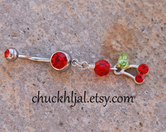 Cherries N Crystals DeSIGNeR Belly Button Ring Summer Fresh Fruit Picnic or Bouquet