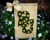 Baylor University BU Burlap Garden Flag Green and Gold Decor Texas Bears