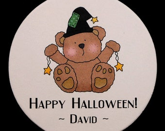 """Personalized Halloween Stickers, teddy with witches hat stars, 2"""" round, set of 25"""