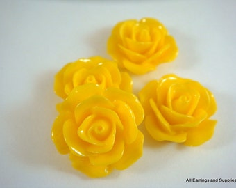 4 Yellow Cabochon Flower Opaque 17mm - No Holes - 4 pc - CA2029-YW4