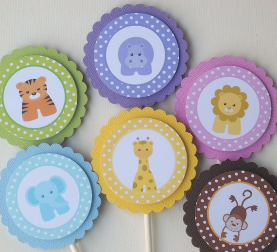 Baby Jungle Or Zoo Animals Cupcake Toppers Set Of 12 Cute