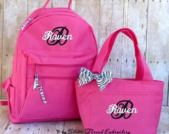 Personalized Backpack Lunch Bag Zebra Leopard Bow Monogrammed School