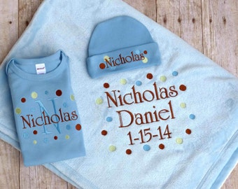 Personalized Blanket Gown Beanie Hat Baby Set Monogrammed Embroidered