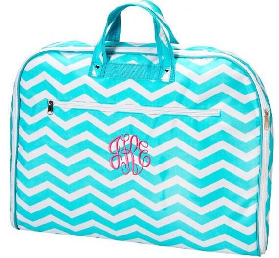 Personalized Garment Bag Aqua Chevron Dance Pageant Gym