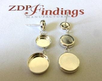 2pcs (Pair) Round 4 , 6 & 8mm Bezel Stud Earrings Sterling Silver 925 (610468)