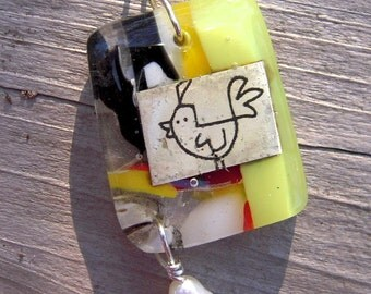 Colorful Chicken Fused Glass Pendant