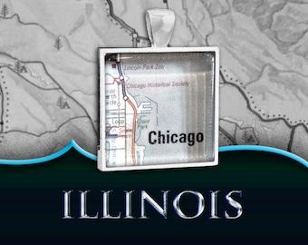 Chicago, IL Map Pendant