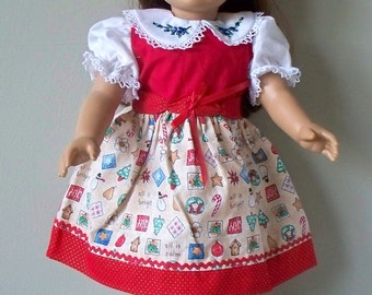 Handmade Doll Clothes Red Christmas Doll Dress Fits 18 inch doll