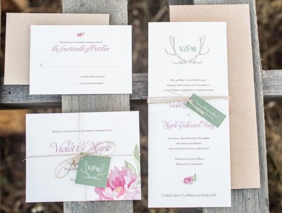 Boho Chic Wedding Invitations: Items Similar To Boho Chic Wedding Invitation Deposit On Etsy