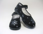 Girl's Snowflake Shoes, Kid's Hand Painted Christmas Mary Jane's, For Baby and Toddler