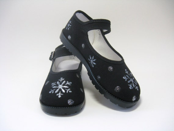 Girl's Snowflake Shoes, First Christmas Outfit, Snow Theme, Party Shoes, Winter Shoes,  Hand Painted Black Mary Jane's, For Baby and Toddler