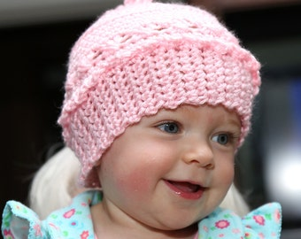 Crocheted Pink Cap Hat Beanie Lacey Victorian Looking Free Shipping in the US