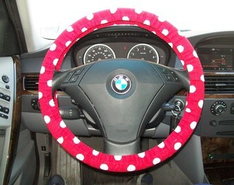 Red with White  polka dots Steering Wheel Cover