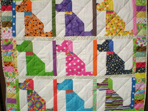 Dog Quilt Baby Quilt Lap Quilt Playmat Boy Or Girl Quilt Crib