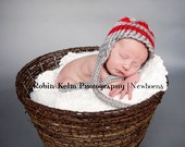 Gray and Red Stripe Knit Earflap Hat-Newborn-12 month sizes-Photography Prop-Ohio State Colors-Made to order