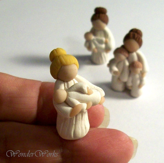 Blonde Mother with Baby Miniature One of a Kind Sculpture Handmade Tiny Figurine Mothers Day Gift