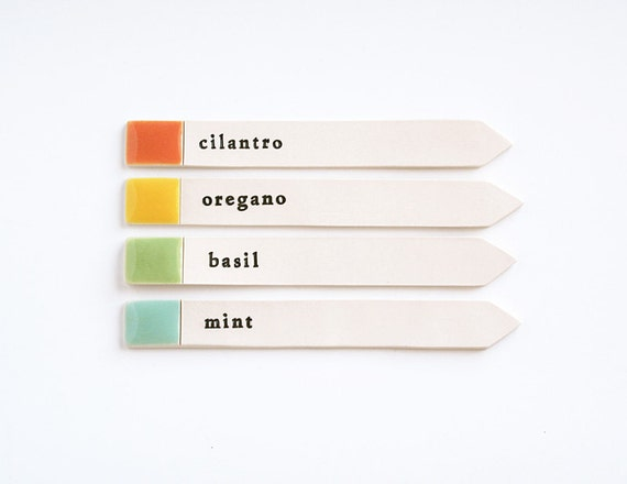 4 herb garden labels.
