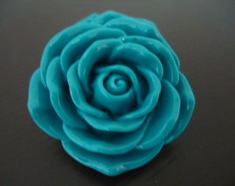45mm TURQUOISE BLUE Resin Rose Flower Beads (1x)