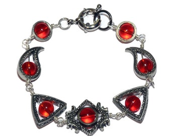 Neo Victorian Jewelry - Bracelet -Silver Tone - Red