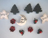 Dress it Up Buttons - Enchanted Christmas - Believe - Trees - Holly - Santa Moon