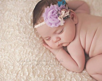 Nyla - Vintage Inspired Rosette Headband - Lavender Turquoise Teal Peach Cream Pink - Lace Bow - Newborn Infant Baby Girl Toddler Adult