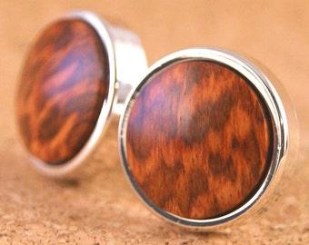 Cufflinks: South American Snakewood in Silver Bezel (CL-615)