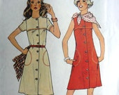 uncut 70s Sewing Pattern- Spring Summer Button Dress - Short Sleeves Sleeveless Yoke - Simplicity 6879 1970s- Misses Size 14 Bust 36 new dos