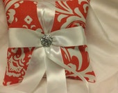 CORAL DAMASK RINGBEARER Pillow Osborne Coral /white  wedding bridal ring bearer White or your choice ribbon color