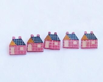 buttons, wooden, schoolhouse, red, 5 pieces, C, destash