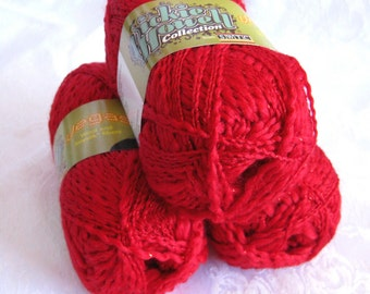 Brilliant Red silk Wool blend yarn with metallic fiber,  Black Jack, SWTC Vegas, worsted weight, soy silk