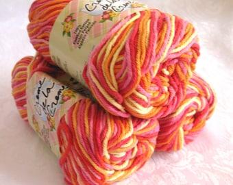 Creme de la Creme Cotton Yarn, TAFFY STRIPE Ombre, orange yellow red yarn, candy corn, 100% cotton