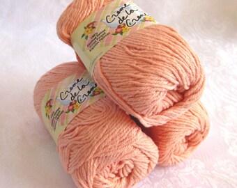 Creme de la Creme Cotton Yarn, TEA ROSE pink, worsted weight, kitchen cotton, flesh color