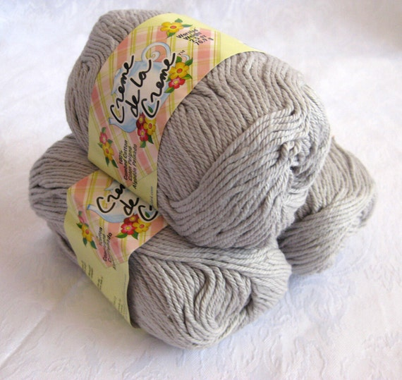 Silver GRAY cotton yarn, Creme de la Creme Cotton,  worsted weight, grey