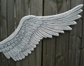 "Wooden Carved Distressed Angel Wings in Elizabeth 4ft x 10"""