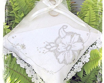 Vintage embroidered, lace edged ring pillow
