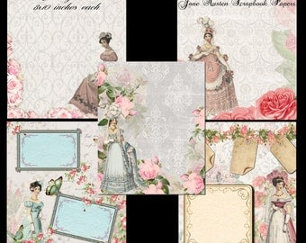 Instant Download - Jane Austen Scrapbook Paper Pack -  Printable Digital Collage Sheet - Digital Download