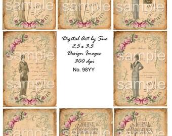 Instant Download No. 98YY - ACEO - Digital Download - Printable  Digital Collage Sheet