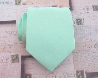 Mens Tie Pastel Mint Green Necktie. Wedding Ties With Matching Pocket Square Option